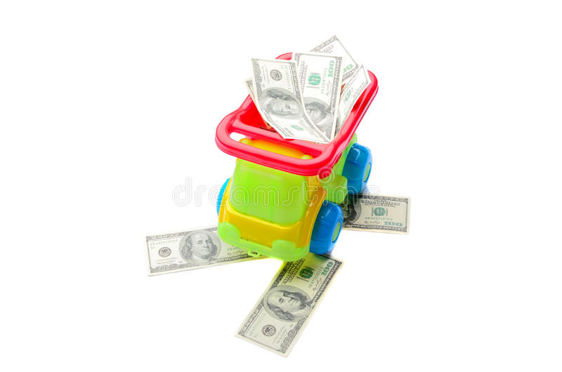 Car on the road from money to isolate stock image