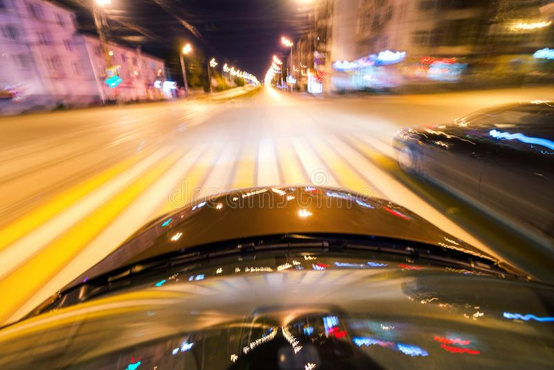 Car on the road with motion blur background. royalty free stock photography