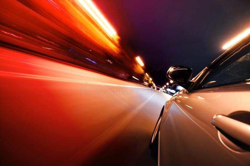 Car on the road with motion blur background. royalty free stock photo