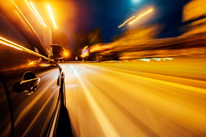 Car on the road with motion blur background. royalty free stock photos