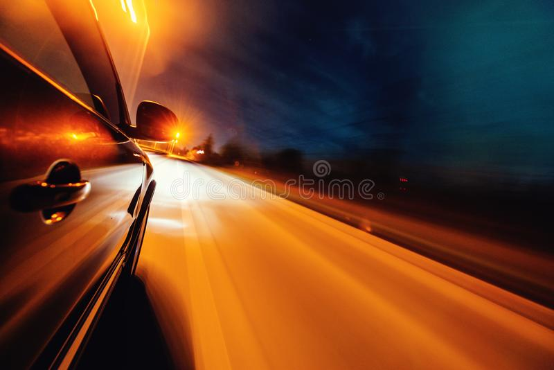 Car on the road with motion blur background. royalty free stock images