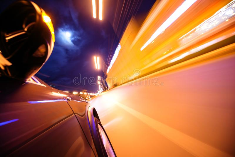 Car on the road with motion blur background. stock image