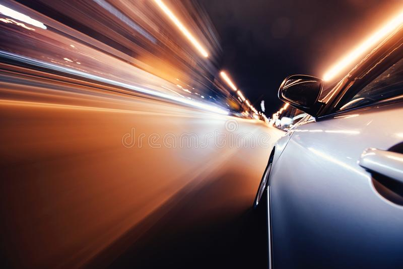 Car on the road with motion blur background. stock photos