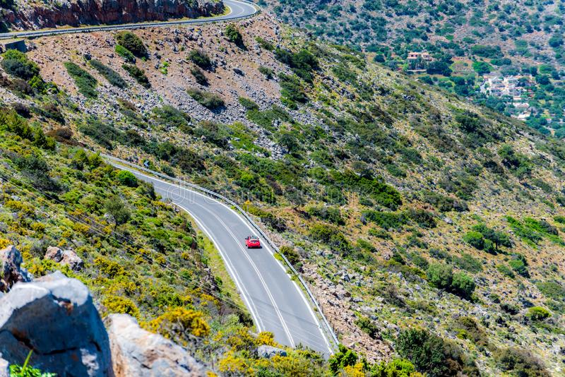 The car on the road in the mountain. Aerial view. stock photography