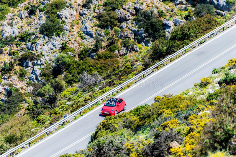 The car on the road in the mountain. Aerial view. stock image