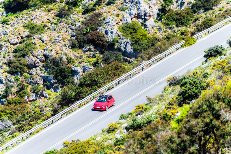 The car on the road in the mountain. Aerial view. royalty free stock images