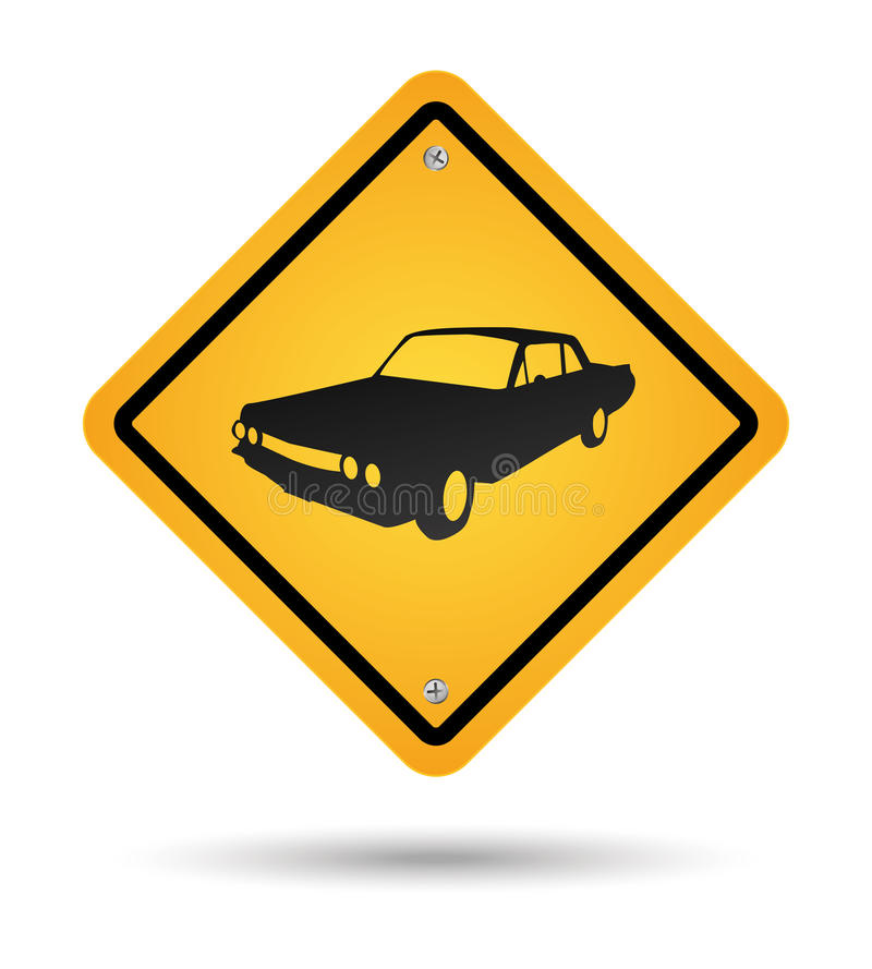 Car road sign. Yellow vintage car road sign stock illustration