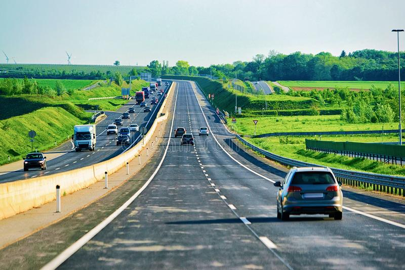 Car on road in South Moravia. Czech Republic stock photo