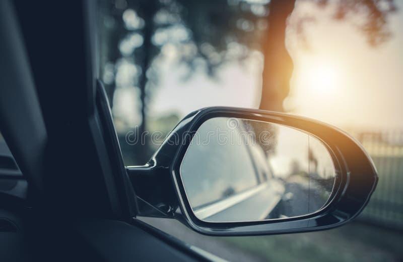 Car Road Trip Concept. Car Driving Conceptual Photo. Outside Mirror royalty free stock photos