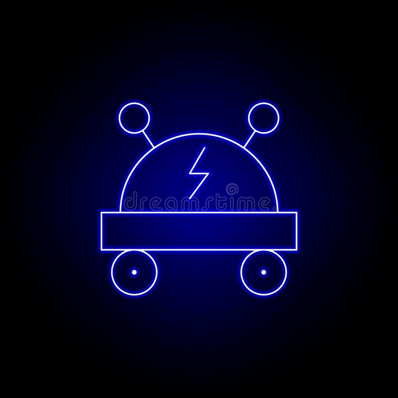 car, robot line icon in blue neon style. Signs and symbols can be used for web, logo, mobile app, UI, UX royalty free illustration