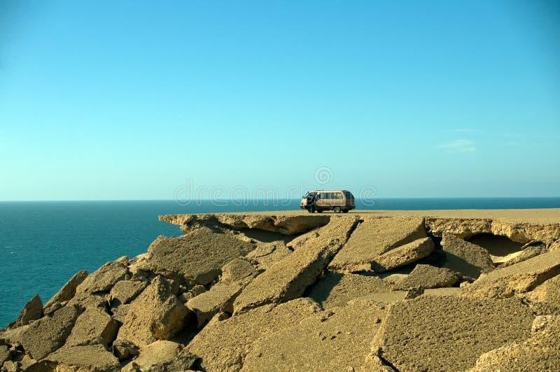 Car on the rocks, Western Sahara royalty free stock photos