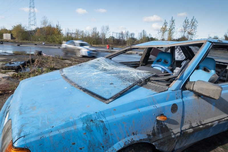 Car after rollover during amateur drifting event in Warsaw royalty free stock photo