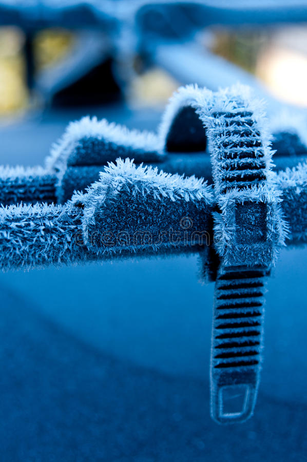 Car roof bike stand in winter stock photo