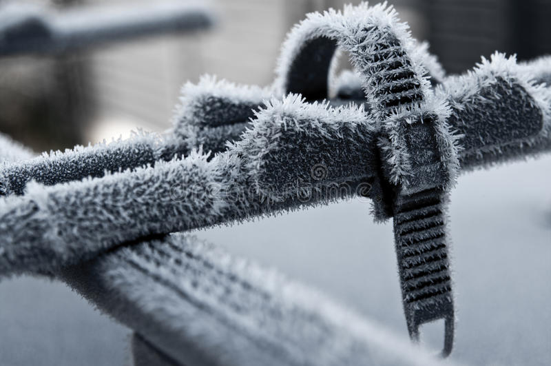 Car roof bike stand in winter stock image