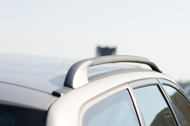 Car roof line. Car roof bars/rails for packing box stock images