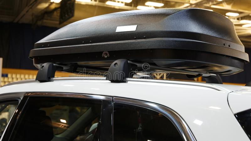 Car with the roof rack with cargo box royalty free stock images