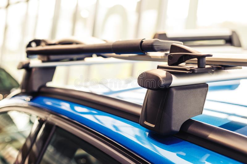 Car roof rack. Modern car. Blue car. Close-up royalty free stock images