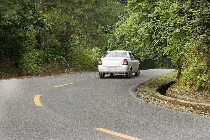 Car Running In Mountain Stock Photography