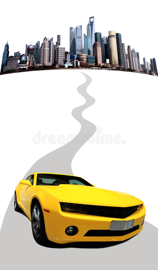 Car running on the road stock images