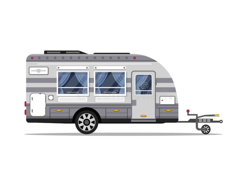 Car RV trailer isolated icon stock illustration