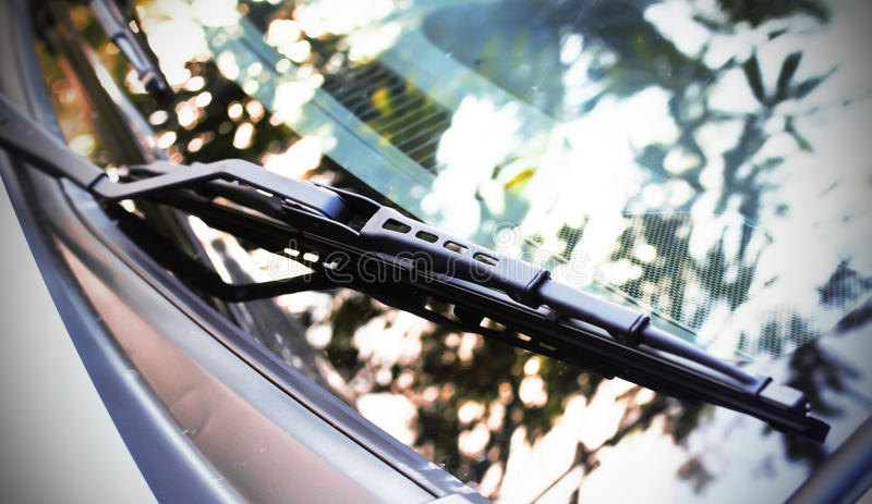 Car`s new windshield rain wiper. royalty free stock photography