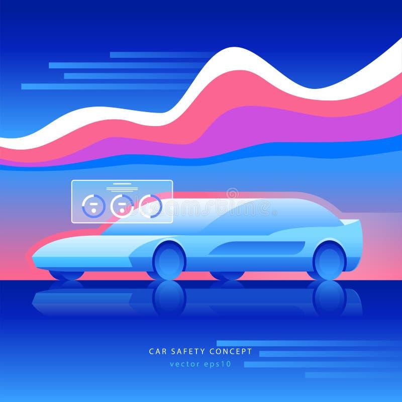 Car safety concept. Transportation future technology royalty free illustration