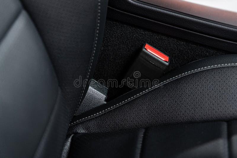 Car safety seat belt lock. Modern car stock photo