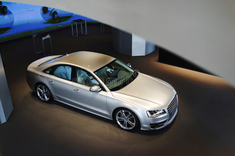 Car for sale. A car in showroom for sale royalty free stock photos