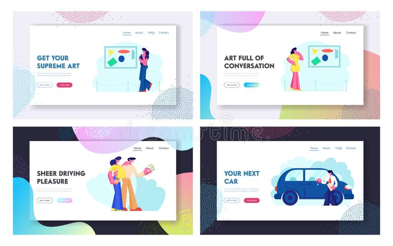Car Sale and Exhibition Website Landing Page Set, Happy People Buying New Automobile in Salon, Visiting Contemporary Art. Gallery. Museum Leisure Web Page stock illustration