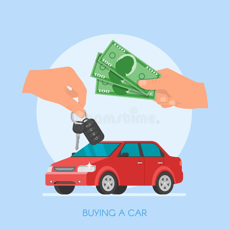 Car Sale Vector Illustration. Customer Buying Automobile