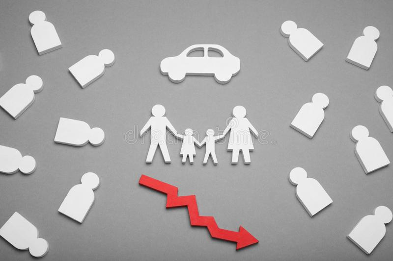 Car sales, automobile cost down concept. Family auto royalty free stock images
