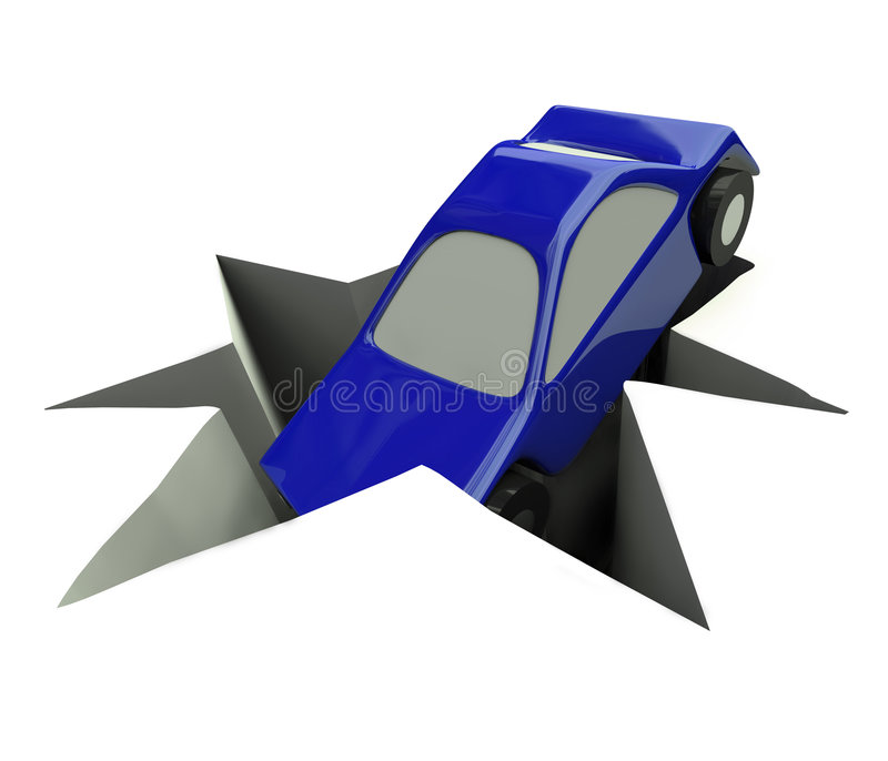 Car Sales Take a Plunge. A blue illustrated car plunges into a deep hole vector illustration