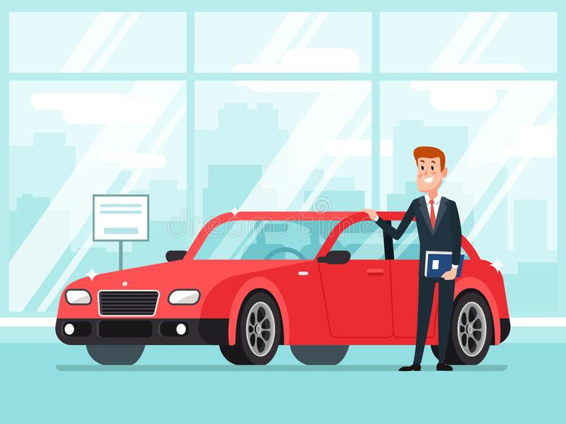 Car salesman in dealer showroom. New cars sales, happy seller shows premium vehicle to buyer cartoon concept stock illustration