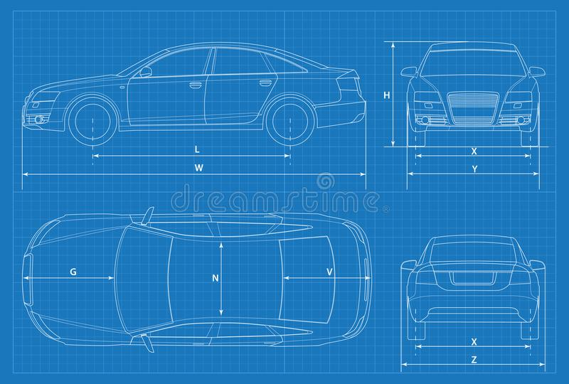 Car schematic or car blueprint vector illustration sedan car in download car schematic or car blueprint vector illustration sedan car in outline business malvernweather Image collections