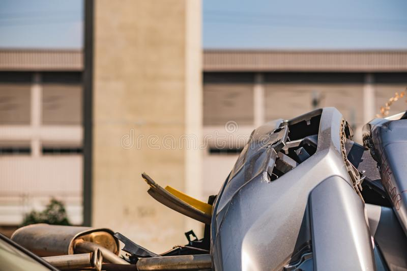 Car scrap caused by an accident. Body part broken photo of car royalty free stock photography