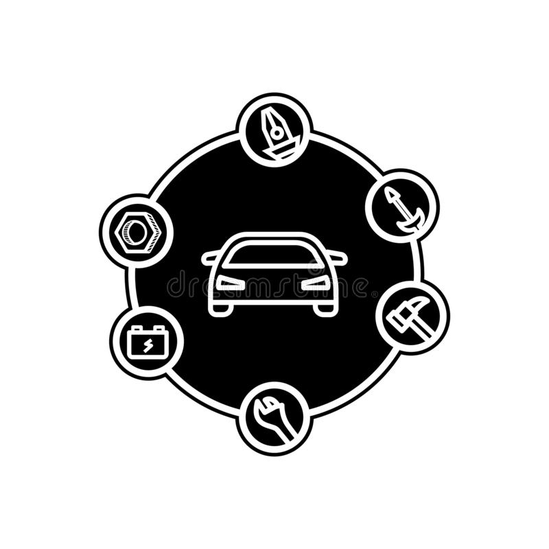 Car searching problem icon. Element of Cars service and repair parts for mobile concept and web apps icon. Glyph, flat line icon. For website design and vector illustration