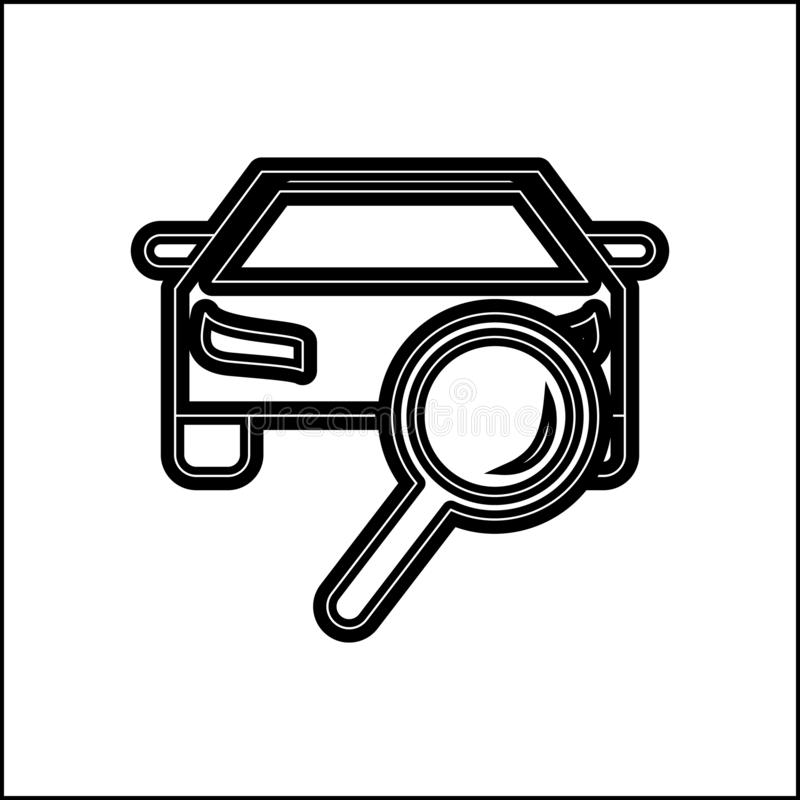 Car searching problem icon. Element of Cars service and repair parts for mobile concept and web apps icon. Glyph, flat line icon. For website design and royalty free illustration