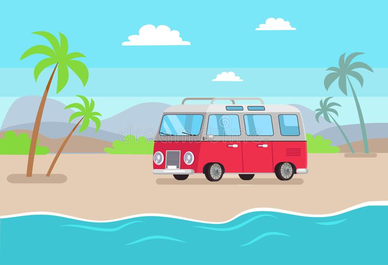 Car and Seaside Composition Vector Illustration vector illustration