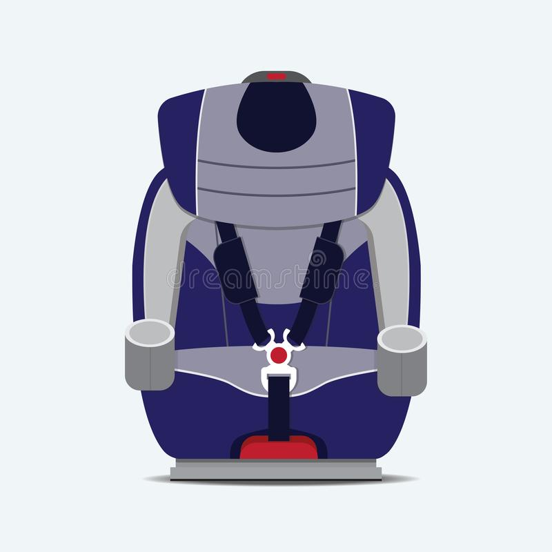 Car seat child safety. Car seat child safety vector flat design stock illustration