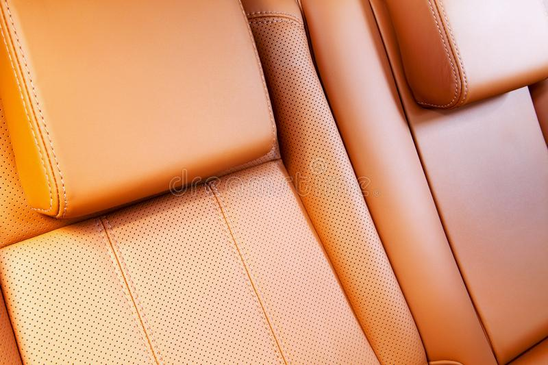 Car seat in perforated leather stock images