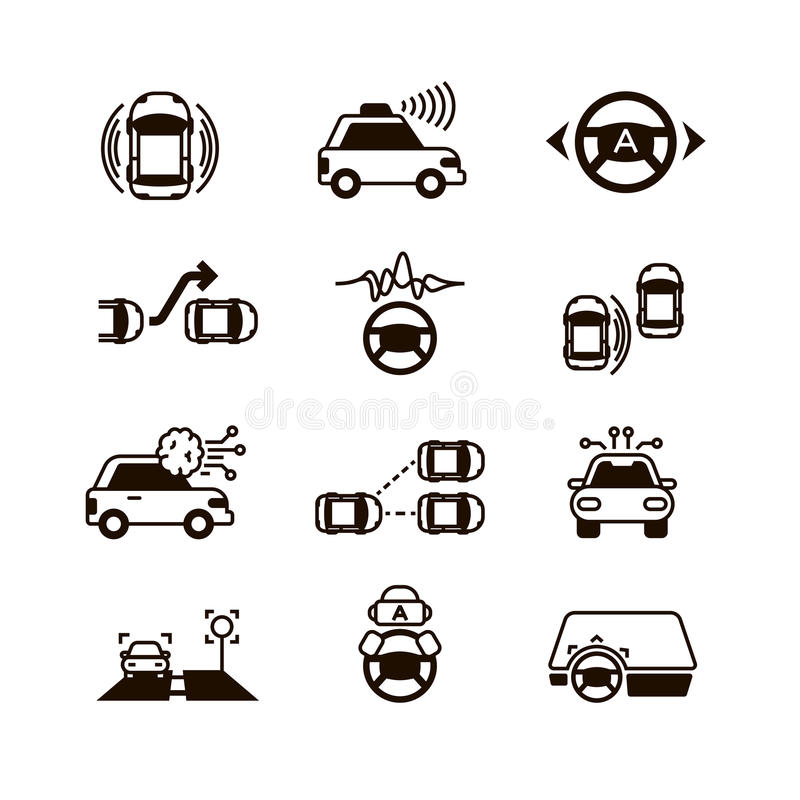 Car self control, futuristic driving intelligent vehicle systems vector icons royalty free illustration