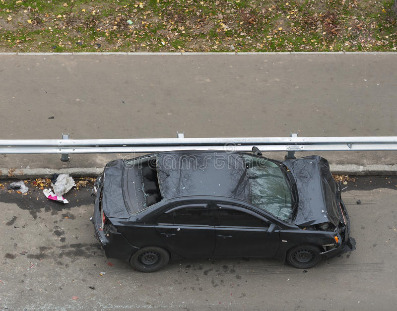 Car seriously injured in an accident stock photography