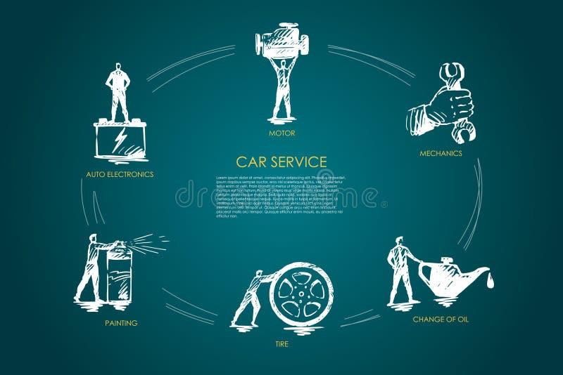 Car service - auto electronics, painting, tire, change of oil, mechanics, motor vector concept set stock illustration