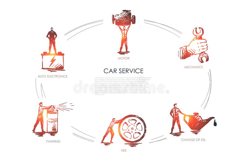 Car service - auto electronics, painting, tire, change of oil, mechanics, motor vector concept set. Hand drawn sketch isolated illustration stock illustration