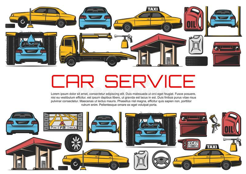 Car service, automobile repair diagnostic station stock illustration