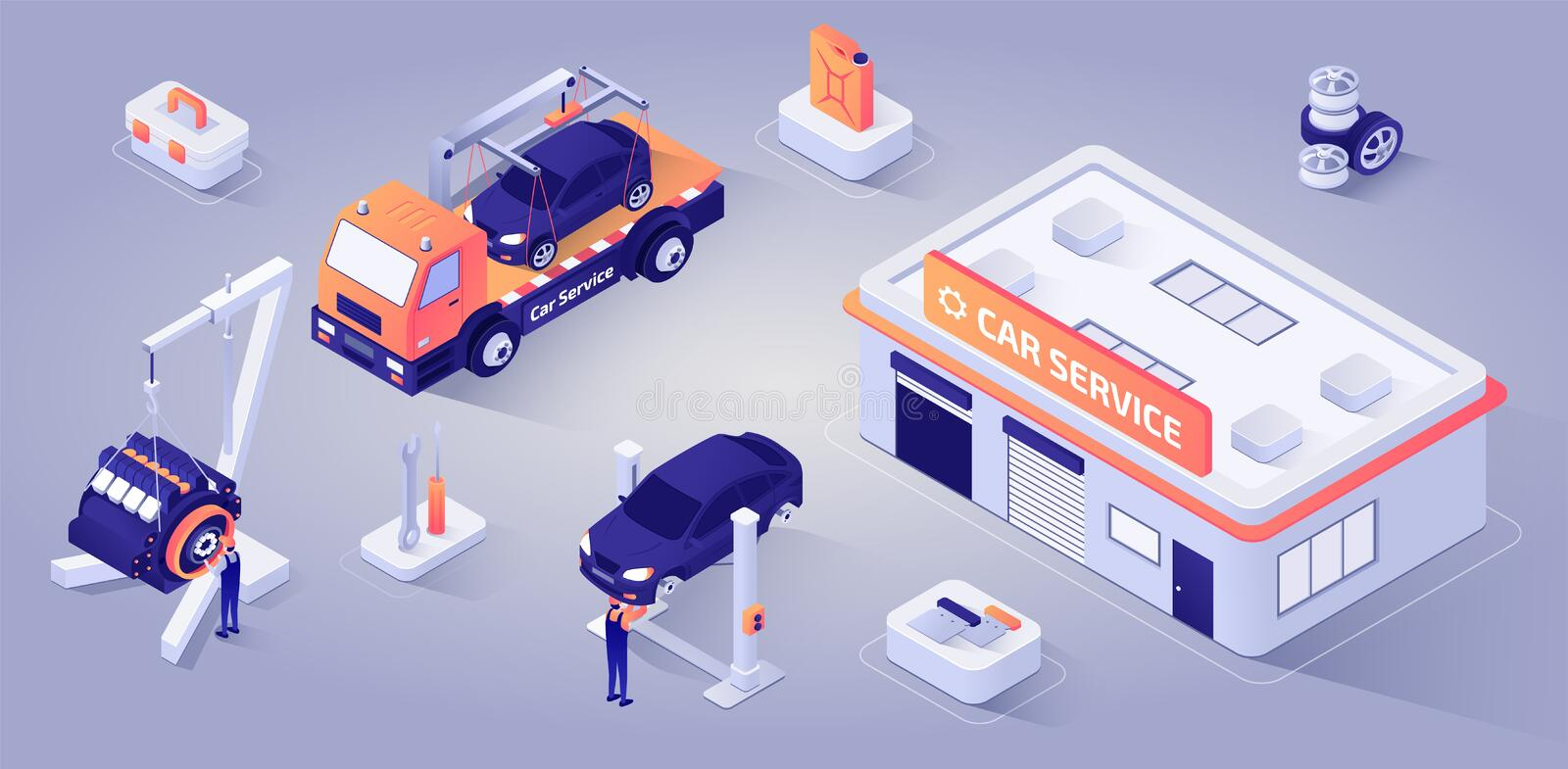 Car Service Building with Mechanics at Work Vector vector illustration