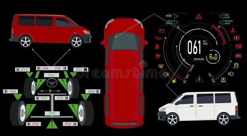 Car service. Bus. Digital automotive dashboard of a modern car. Graphic display, diagnostics wheel alignment. Vector illustration stock illustration