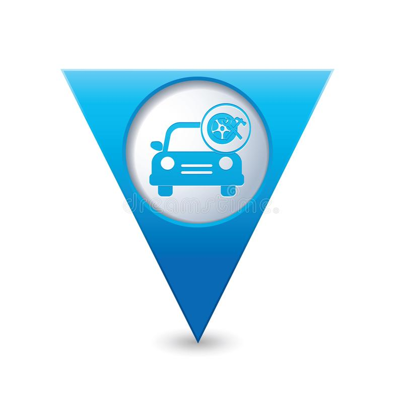 Car service. Car with wheel and tools icon on the map pointer vector illustration