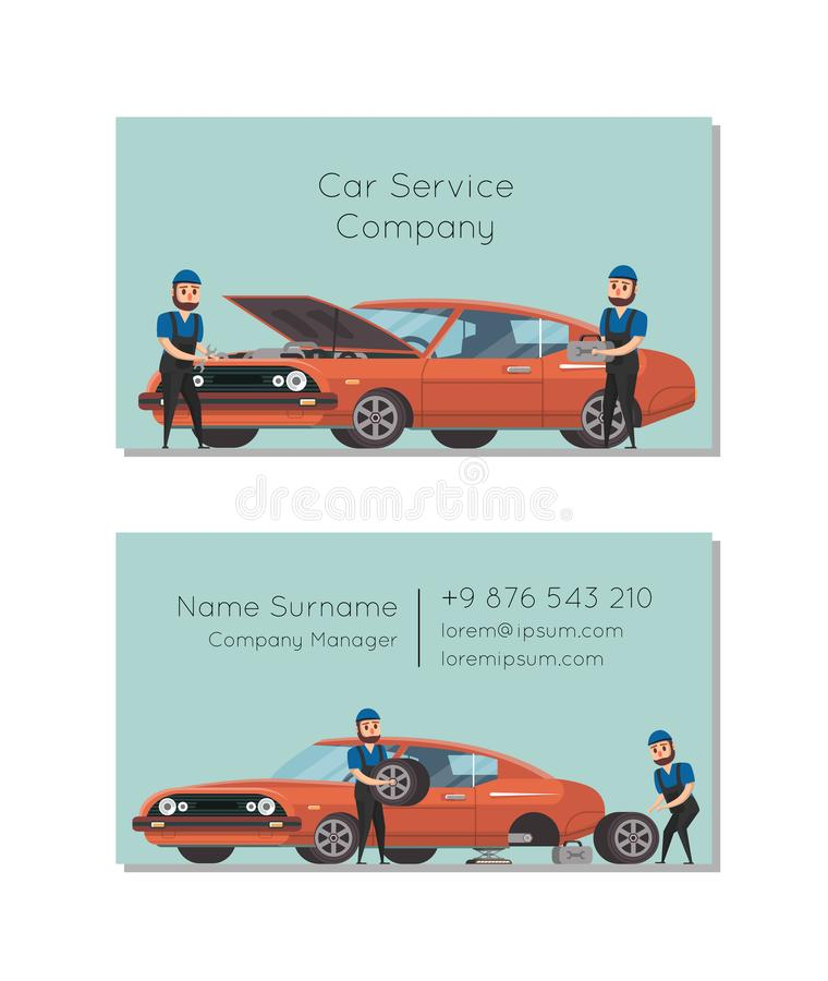 Car service company business card stock vector illustration of car service company business card with mechanics repairing automobile colourmoves