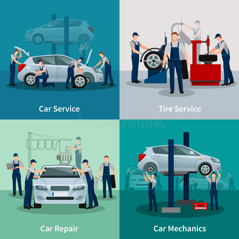Car Service 2x2 Compositions royalty free illustration